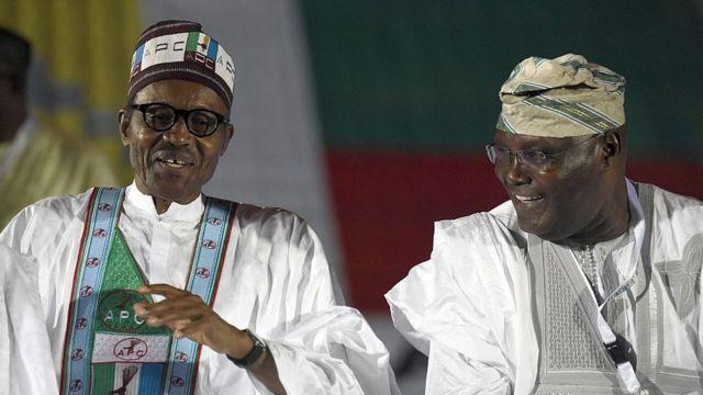 President Muhammadu Buhari dey tok to Former Nigeria vice president Atiku Abubakar
