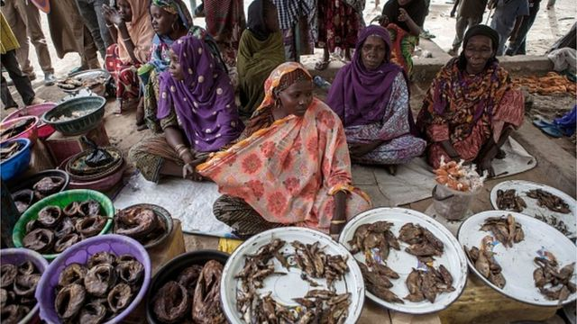 Women sell fish at a market in the town of Damasak in North East Nigeria