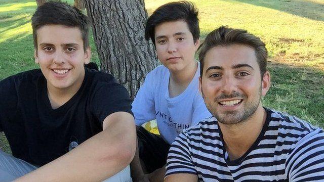 Greek children with Ricky