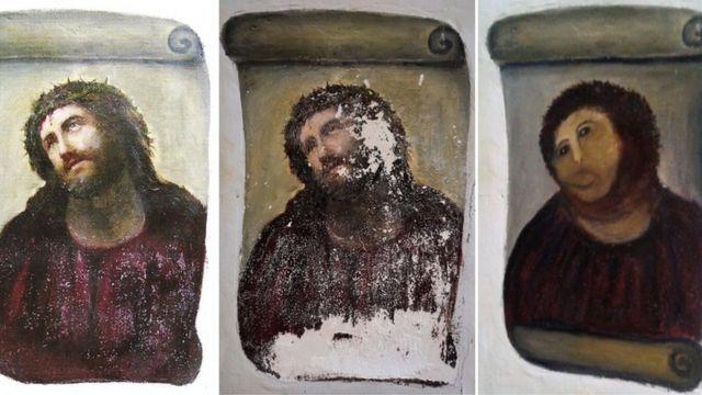 Ecce Homo original, deteriorado pela passagem do tempo e 'restaurado'