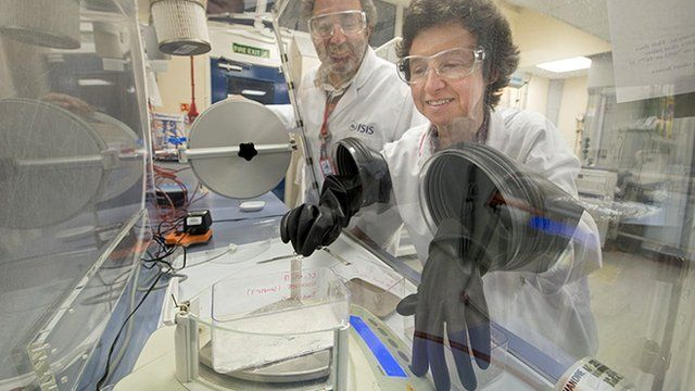Researchers using a clean-room facility at Isis
