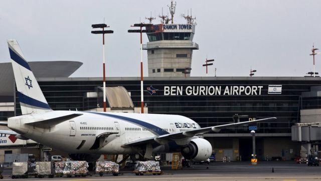 Image of an El-Al Boeing outside Ben Gurion Airport