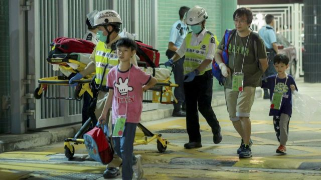 Rescued ferry passengers in Hong Kong (25 Oct 2015)
