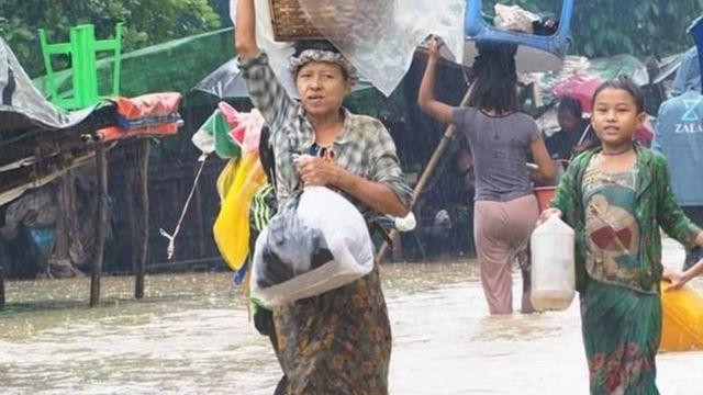 မင်းပြားမြို့ပေါ်က ရေကြီးမှု အခြေအနေ မြင်ကွင်း ၂၀၁၉