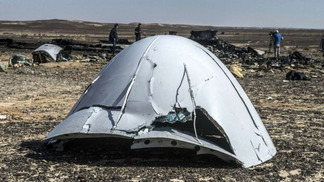 Debris of the A321 Russian airliner lie on the ground a day after the plane crashed in Wadi al-Zolomat, a mountainous area in Egypt's Sinai Peninsula, on 1 November 2015
