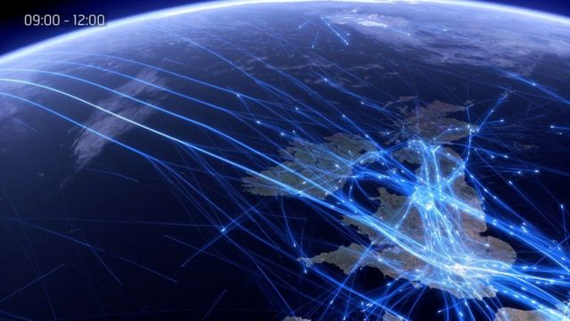 Так виглядає трафік над Британією і Атлантикою