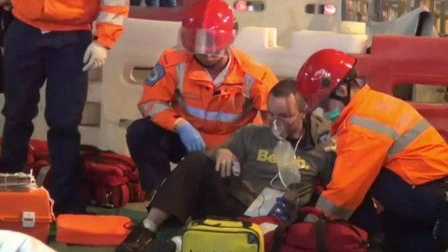 Rescue services treat the injured