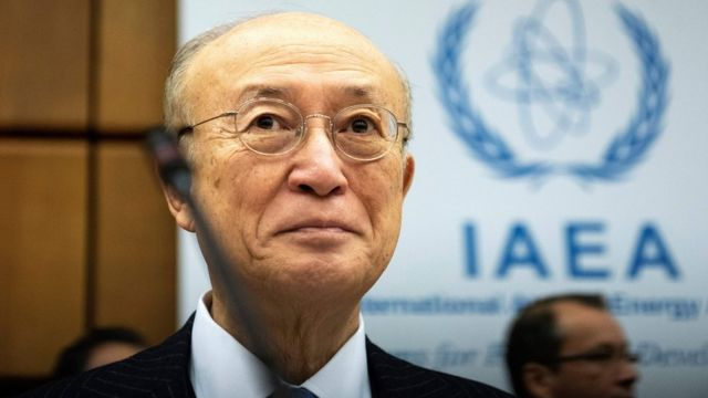 File photo showing International Atomic Energy Agency chief Yukiya Amano at the organisation's headquarters in Vienna on 22 November 2018
