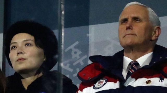Kim Yo-jong mushiki w'indongozi ya Korea ya Ruguru yari yicaranye na Mike Pence mu birori vyo kwugurura inkino za Olympique