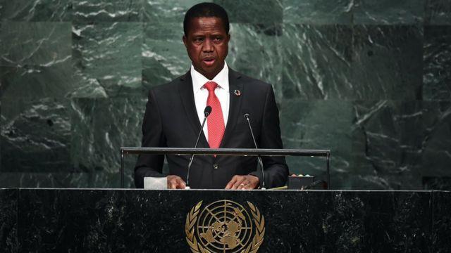 le président Zambien Edgard Lungu à la tribune des Nations-Unis