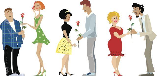 Ilustração mostra três casais