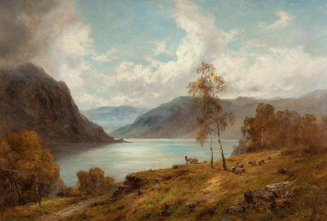 """Туман в горах на озере Лох-Катрин"", картина Альфреда де Бреански"