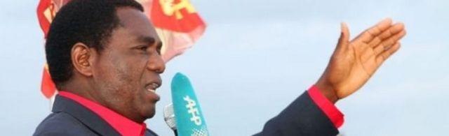 Hakainde Hichilema, leader du principal parti d'opposition, le parti uni pour le développement national.