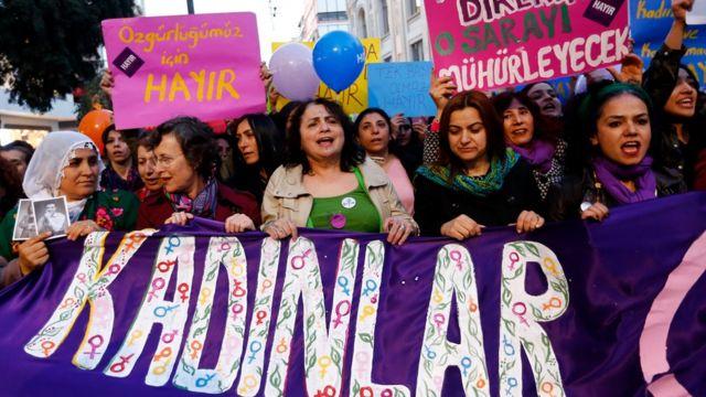 Manifestantes en Turquía.