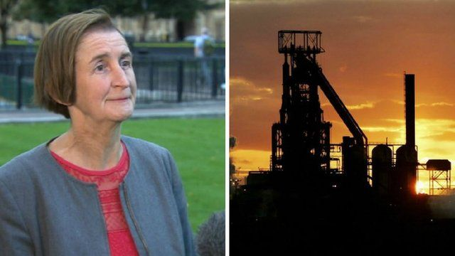 Nia Griffith and Tata steelworks in Port Talbot