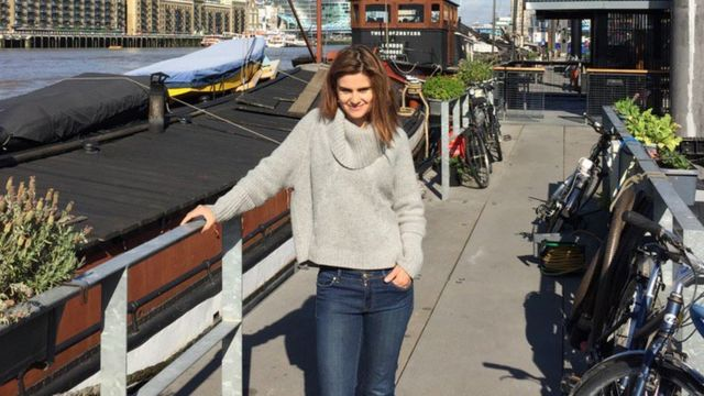 Jo Cox by her houseboat