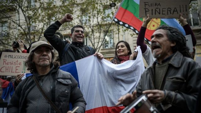 Manifestación de apoyo a Chile en París, Francia