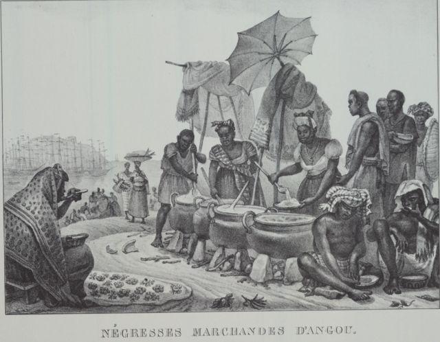 Ilustração mostra negras escravizadas vendendo angu a partir de grandes panelas redondas