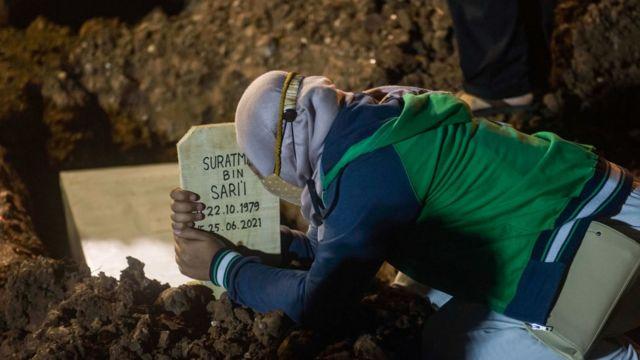 Pessoa chorando em um túmulo na Indonésia durante a pandemia de covid-19