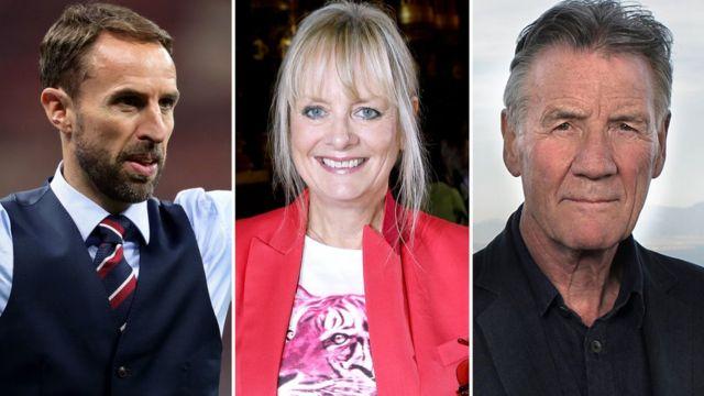 (L-R) Gareth Southgate, Twiggy, Mchael Palin