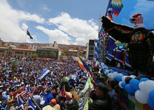 Concentración del partido de Evo Morales.
