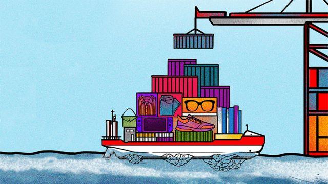 Ilustración de un buque lleno de contenedores, navegando el mar con montañas de bálanos pegados al casco