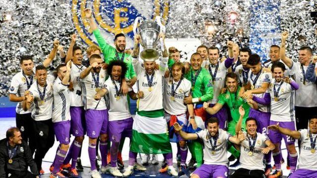 Real Madrid celebrando su título en Cardiff