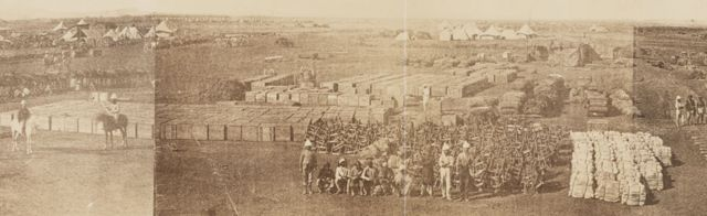 V&A Museum, Maqdala 1868 display: Photograph of the Camp at Zoola during the Abyssinia Expedition 1868-9 by the Royal Engineers