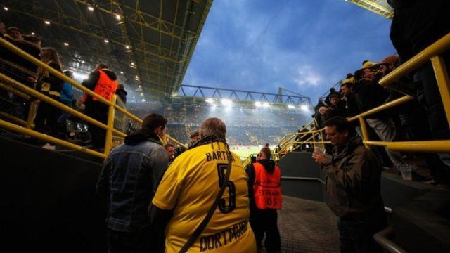 A fan at Signal Iduna Park in Dortmund