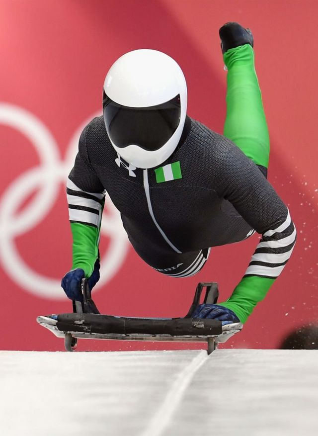Simidele Adeagbo of Nigeria practices during Women's Skeleton training ahead of the PyeongChang 2018 Winter Olympic Games