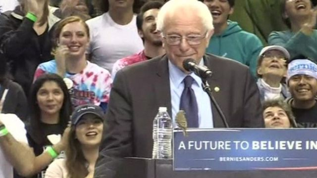 Bernie Sanders at a rally in Portland, Oregon.