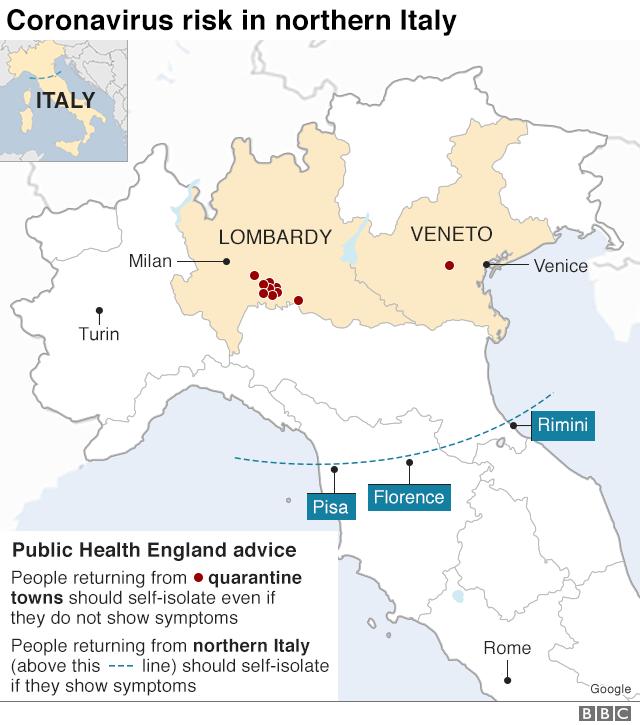 coronavirus affected map