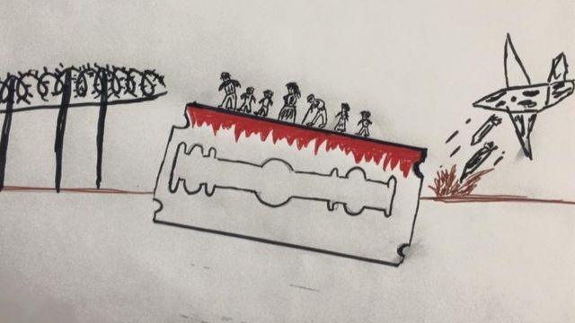 Este dibujo muestra a migrantes caminando sobre una navaja con sangre.