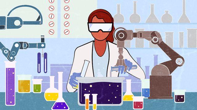 Ilustração de cientista misturando produtos químicos em laboratório