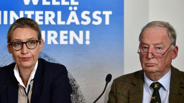 Os candidatos da AfD Alice Weidel e Alexander Gauland