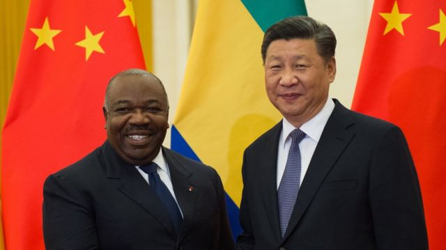 """Gabon""""s President Ali Bongo Ondimba (L) shakes hands with China""""s President Xi Jinping (R) before their bilateral meeting at the Great Hall of the People, Beijing, China, 01 September 2018."""