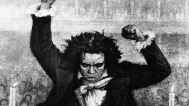 Drawing of Beethoven conducting an orchestra