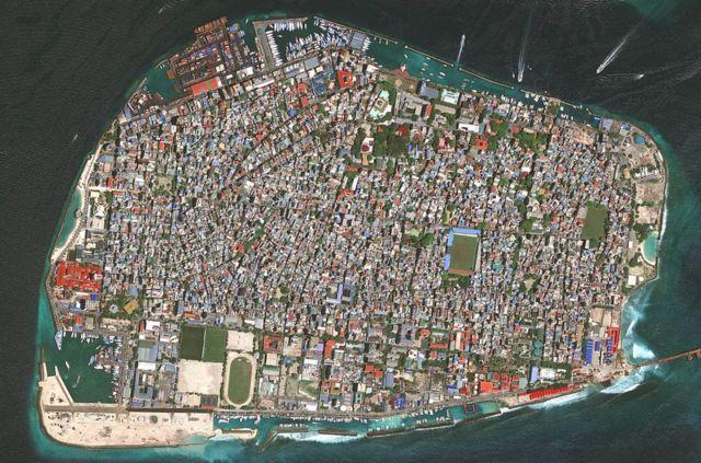 Una vista aérea de Malé