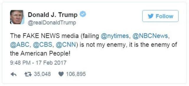 تغريدة الرئيس ترامب بشأن وسائل الإعلام الأمريكية