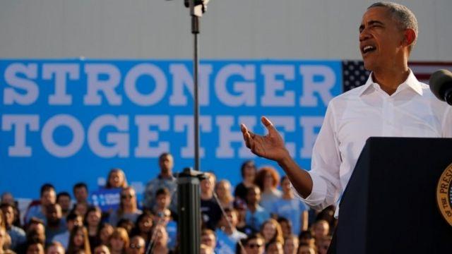 ノースカロライナ州の集会で演説するオバマ大統領(2日)