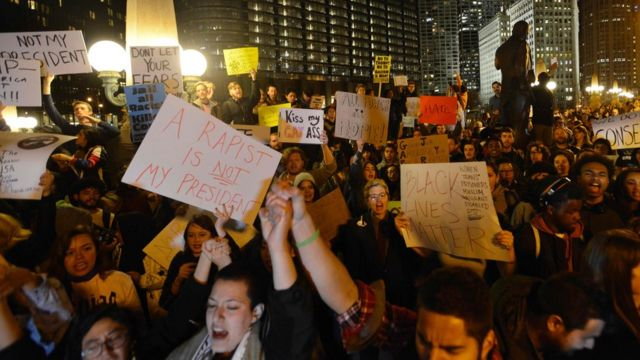 An anti-Trump protest in Chicago