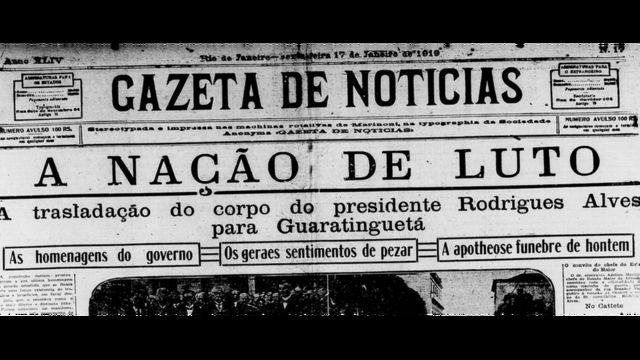 """Capa do jornal """"A Gazeta de Notícias"""" do dia 17 de janeiro de 1919"""