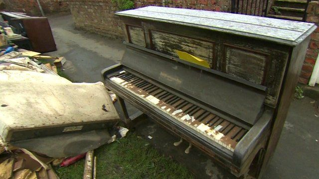 Piano damaged in flooding in York