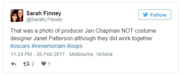 """""""La foto era de la productora Jan Chapman y NO de la diseñador de vestuario Janet Patterson aunque trabajaron juntas"""", dice el tuit."""