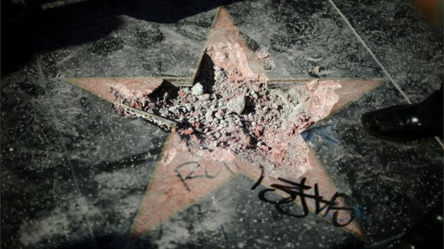 Rubble of Donald Trump's Hollywood Walk of Fame star