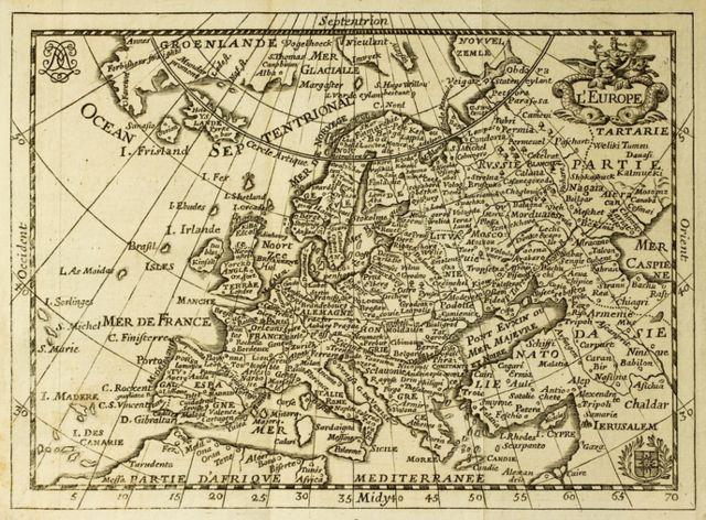 Mapa antiguo de España del siglo XVII.