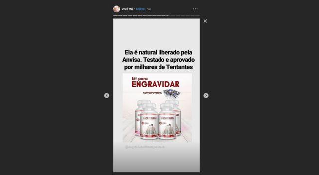 Imagem mostra post no stories do perfil engravidar.macaperuana divulgando Kit para Engravidar