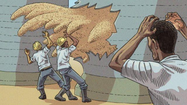 Ilustração mostra avalanche provocada por desabamento de silo de grãos