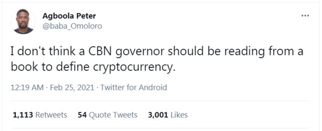 """CBN Governor cryptocurrency"""