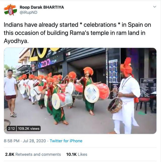 ஸ்பெயினில் உள்ள இந்தியர்கள் புதிய ராமர் கோவில் கட்டுவதை கொண்டாடவில்லை